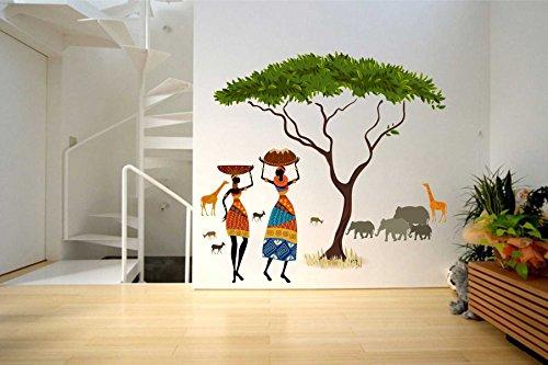 Rawpockets African Jungle Story' Wall Sticker (PVC Vinyl, 100 cm x 90cm)