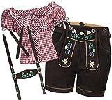 Trachtenset Damen Trachten Lederhose braun kurz mit Stickereien rot weiß kariert 40-38
