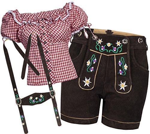Bongossi-Trade Trachtenset Damen Trachten Lederhose braun kurz mit Stickereien rot weiß kariert 34-34