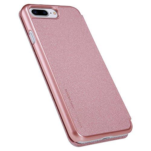 Rose Gold PU-Leder Hülle Flip Case PC Kunststoff Zurück Schutzhülle + Displayschutzfolie für Apple iPhone 7 Plus 5,5 Zoll Vooway® NK44205 Rose Gold