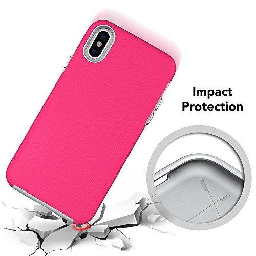 iPhone X Hülle Handyhülle von NICA, Slim Silikon Case mit Hardcover, zweiteilig Dünne Sport Design Schutzhülle, Hard-Case Etui, 2 in 1 Backcover Handy-Tasche für Apple iPhone X, Farbe:Pink Pink