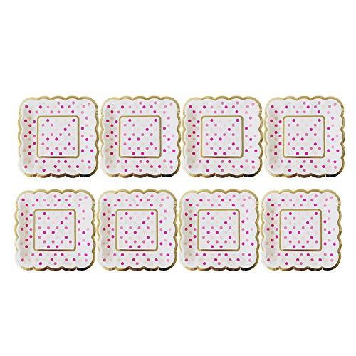 aloiness Platz Pappteller 12.5CM Edel-Dekorativ Partygeschirr Stabiles Einweggeschirr für Grillfeste oder Geburtstage Splitterfreie Verwendung Kinder Basteln Pappteller 8 Stück(Blau Punkte) -