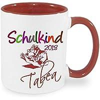 Schulkind 2018 Tasse Kaffeebecher Kaffee Kind Mädchen Junge Tasse mit Namen bedruckt Namentasse personalisiert mit WUNSCHNAMEN Geschenk zum Geburtstag Einschulung