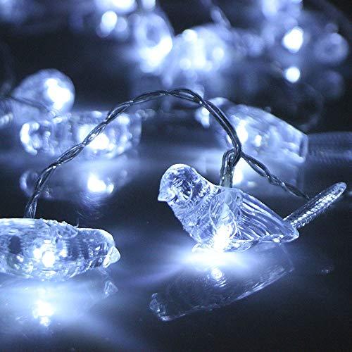 Prevently LED Vögel Lichterkette 2,5 Meter 20 Lichter Batteriebetriebene Schnur Lichter Wasserdichte Beleuchtung Garten Dekor Weihnachten (Weiß)