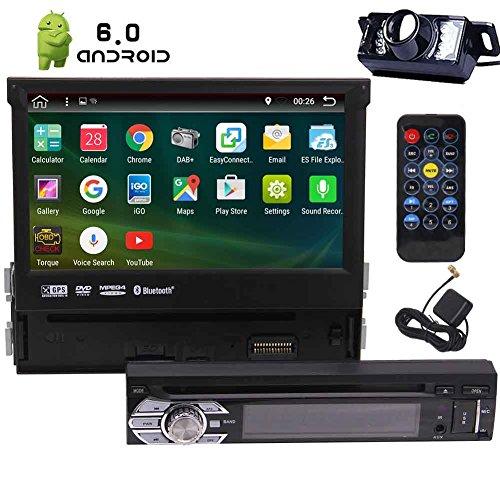 7In Einzel-DIN Android 6.0 Auto-Stereo-Receiver mit 2 GB RAM Bluetooth-GPS-Navigation - Touchscreen Abnehmbare Frontplatte mit Wi-Fi Web Browsing, App herunterladen, CD / DVD-Player und Backup-Kamera (Abnehmbare Frontplatte Touchscreen)