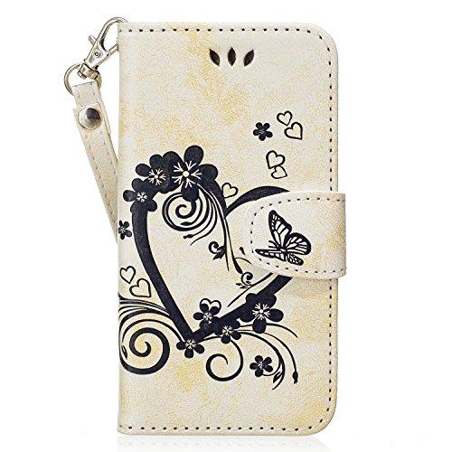 Faux Leder Herz (ISAKEN Kompatibel mit Galaxy A3 2017 Hülle, PU Leder Brieftasche Geldbörse Wallet Case Handyhülle Tasche Schutzhülle mit Handschlaufe Standfunktion für Samsung Galaxy A3 2017 - Herz Blumen Weiß)