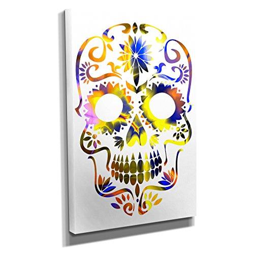 Colorful Sugar Skull - Kunstdruck auf Leinwand (40x60 cm) zum Verschönern Ihrer Wohnung. Verschiedene Formate auf Echtholzrahmen. Höchste - Bei Der Für Deko-ideen Arbeit Halloween