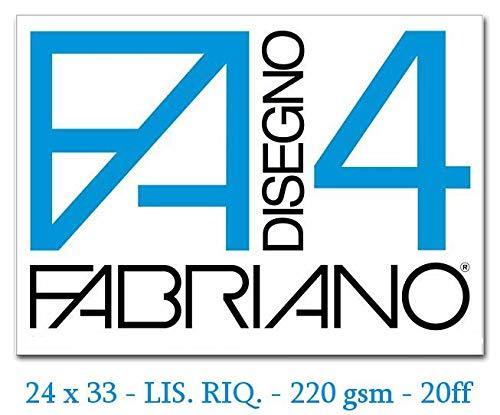 Fabriano F4 05201597 Album da Disegno Formato 24 x 33 Fogli Lisci Riquadrati Graatura 220gr/m2 20 Fogli