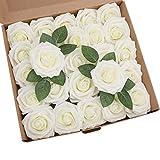 ShenHO Lot de 25 Roses artificielles en Mousse polyéthylène pour Bouquets de Mariage, centres de Table, décoration de fête de Mariage (White, 25pcs)