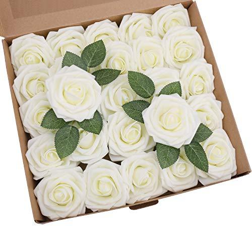 Shenho - 25 rose artificiali in schiuma di polietilene, ideali per bouquet da sposa, centrotavola, feste e decorazioni per la casa (white, 25pcs)