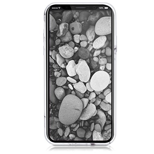 kwmobile Hülle für Apple iPhone X - TPU Silikon Backcover Case Handy Schutzhülle - Cover Schwarz matt Marmor Weiß Schwarz