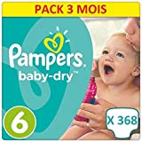368 COUCHES PAMPERS BABY DRY TAILLE 6. FORMAT ECONOMIQUE PACK ULTRA ECO 3 MOIS DE CONSOMMATIONS