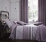 , Floral Blätter Heather Purple flieder Single Bettbezug & Vorhänge