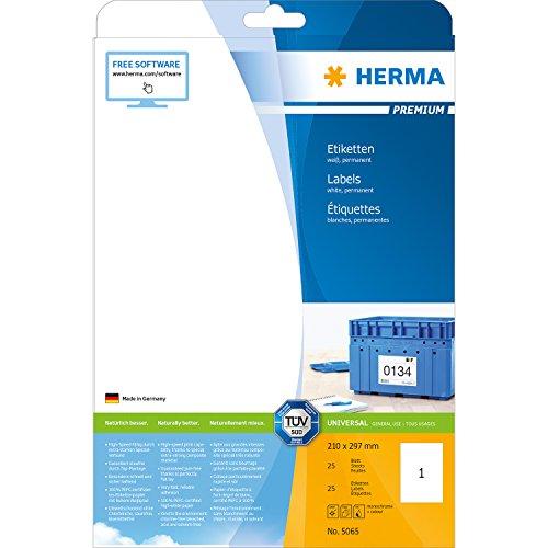 Herma 5065 Universal Etiketten (210 x 297 mm, Format DIN A4, Premium Papier matt) 25 Stück auf 25...