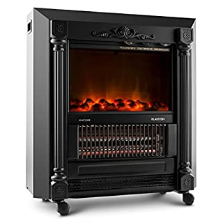Klarstein Grenoble Electric Fireplace • Heater • 1850 W • Flame Simulation • Integrated Fan and Thermostat • Lifelike Design • Unobtrusive Operating Controls • Metal Housing • Black