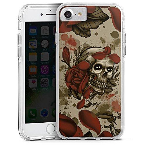 Apple iPhone 6s Bumper Hülle Bumper Case Glitzer Hülle Tattoo Rock N Roll Skull Bumper Case transparent