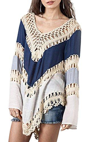Donne Crochet Bikini camicetta boho spiaggia lavorato a maglia Top