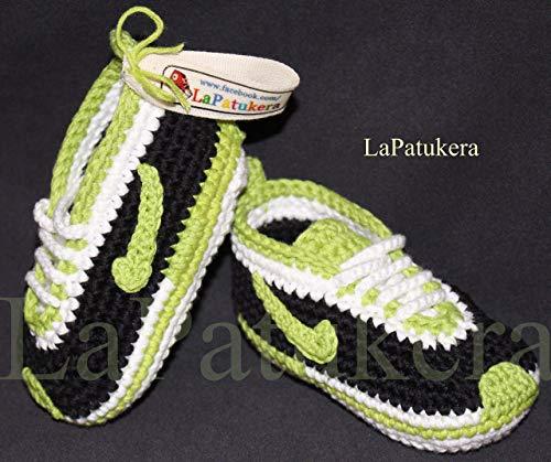 Babyschuhe häkeln, Unisex. Farbe schwarzen und grünen Pistazien, aus 100% Baumwolle, 4 Größen 0-12 Monate. handgefertigt in Spanien. Turnschuh gehäkelt gestrickt. Geschenk fürs Baby -