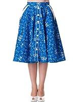 Hell Bunny Rock BANDANA 50'S Skirt blue