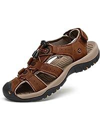 1b6c203e8 Hombres Sandalias Verano Cuero Zapatos Senderismo Playa Caucho Lenguado  Ajustable Antideslizante Transpirable.