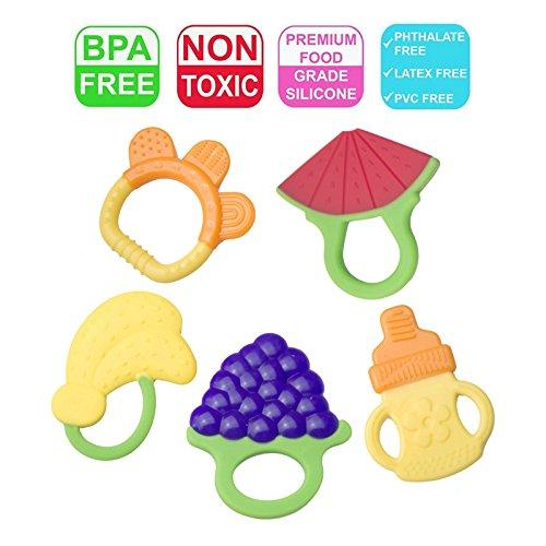 Anneau De Dentition Refrigerant,Jouets de dentition pour bébé,Relief- Non-toxique,100% sûr BPA,anneau à mâcher fruité 3 mois Jouets de dentition doux (5 pcs)