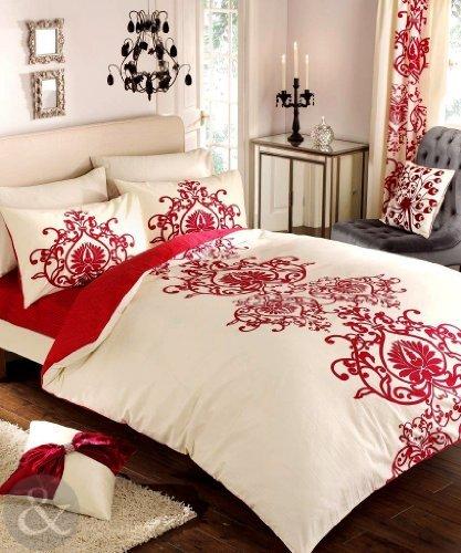 Just Contempo Completo copripiumone per letto matrimoniale misto policotone e copriletto in raso Cotone rosso & avorio panna (bianco) taglia King