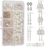 SUNNYCLUE 1 Caja de Bricolaje 8 Pares de Pendientes Largos Colgantes de Perlas Blancas para Principiantes, Mujeres y niñas