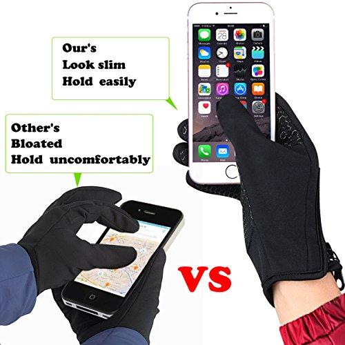 Touchscreen Handschuhe für Herren und Damen Winter Outdoor Winddicht Handschuhe mit Anti-rutsch Silikongel Warm Für Radfahren Skifahren Sports Smartphone/Tablet by Kungber – (XL, Schwarz) - 4
