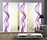wohnfuehlidee 5er-Set Flächenvorhang, ALBERTA, Höhe 245 cm, 3x bedruckt blickdicht/2x uni weiss transparent