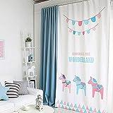 GWELL Kinderzimmer Gardinen Vorhang Blickdicht Ösenschal Dekoschal für Wohnzimmer Schlafzimmer 1er-Pack 280x140cm(HxB)Pferd-3
