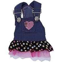 Generic - Perro denim vestido rosa sequin corazón de bolsillo - circunferencia del pecho: aprox . 11,5 pulgadas