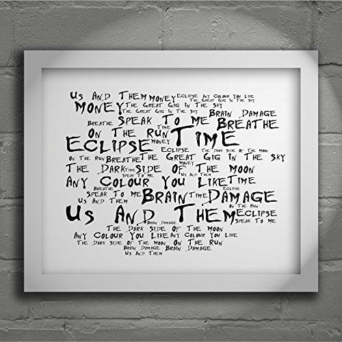 Pink Floyd - The Dark Side of the Moon - Firmato e numerato Edizione limitata tipografia muro arte Stampa Testo della canzone poster