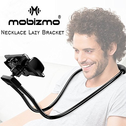 Mobizmo DIY 360 Degree Rotating Mounts Can Hanging Neck, Waist Long Arm Lazy Bracket Soft Metal Holder Stand for iPhone, iPad Air, Android, 4-10 inch