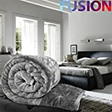 KING - GREY LUXURY FAUX FUR MINK THROW SOFT WARM FLEECE BLANKET DOUBLE KING SINGLE SOFA BED Evelyn Living®