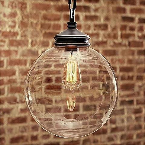 CAC Vetro cristallo pendente a sfera continentale luce Ristorante Bar Vintage Ciondolo lampada E27 Arte Edison 60W/40W Decor Levodecor illuminazione,S