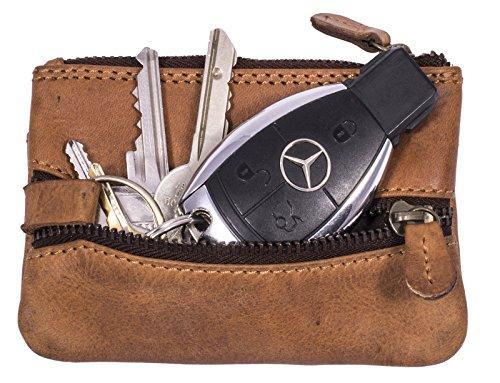 Hill Burry Unisex Schlüsselbörse | Schlüsseletui geöltem Leder - weiche Schlüsselmappe (Braun)