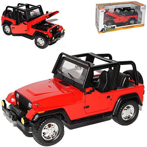 Jada Jeep Wrangler Rubicon YJ Rot 1. Generation 1987-1995 1/24 Modell Auto - Jeep Rubicon Wrangler Modell