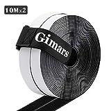 Gimars Velcro adhesivo ancho 20mm * 6M / 8M /10M / 15M Velcro adhesivo tela doble cara Fijación segura para trabajos manuales y de bricolaje/Equipado con cierre con hebilla para organizar (10M Negro)