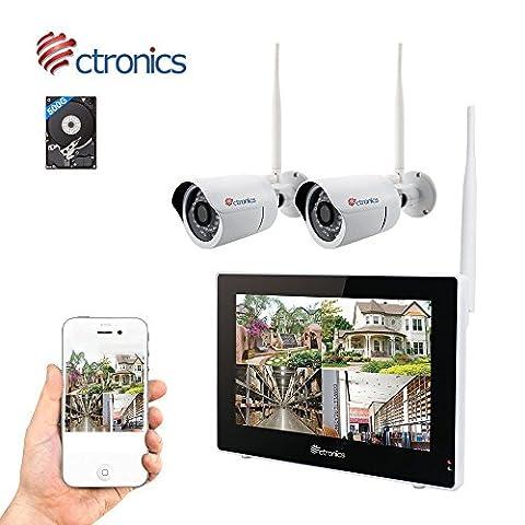 """(Touchscreen)Ctronics überwachungskamera Set 2.4G drahtloses NVR WiFi-Kamera-System mit 9"""" Touchscreen-Monitor und 2 * 720p WiFi-IP Netzwerkkamera für die Überwachung des Eigenheims(500G HDD"""