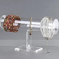 E-Meoly Acrylic Bracelet Display Holder Clear Jewelry Stand 1 Tier Jewelry Bangle Watch Headdress Flower Organizer T Bar I-Shaped Shelf Case