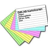 Karteikarten 500 Stück A8 farbig liniert