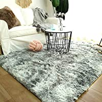 Modern Shaggy Rugs Fluffy Soft Touch Dazzle Sparkle Area Rug Carpet Large for Living Room Bedroom Floor Mat (Light Grey,140 x 200cm)