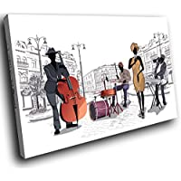 E215 Black White Orange Jazz Music Band Modern Canvas Wall Art Picture Prints