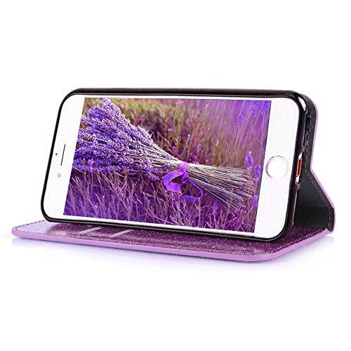 Custodia per iPhone 5 5S SE 4 Cover in Pelle Portafoglio, Funyye Lusso Eleganza [Diamante Perla] Design Incorporare Affascinante Flip Wallet Case Bello Scintillante PU Leather Shell Skin Bumper + 1 x #8 Viola