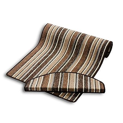 casa pura® Carpet Floor Runner, Stripe - Brown | Customisable Width & Length | Matching Stair Treads Avail. (66 x 225