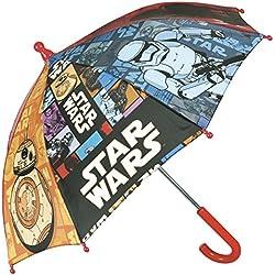 Paraguas Star Wars - Paraguas para niño Perletti, con apertura manual de seguridad y tacos redondeados y fijos - 66 cm de diámetro - Perletti