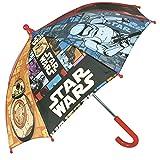 Paraguas Star Wars - Paraguas para niño Perletti, con apertura manual de seguridad y tacos redondeados y fijos - Perletti