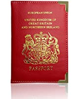 Passport Holder For UK And European Passport Protector Cover Wallet PU Leather by Lizzy® (Red)