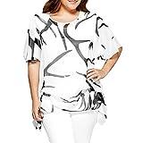 Übergröße Blusen Kolylong® Damen Elegant Drucken Kurzarm Bluse Unregelmäßig Vintage Chiffon Oberteile Sommer Rundhals T-Shirt Plus Size Kurzarmshirt Hemden Sweatshirt Tunika Tops (Weiß, XXXL)