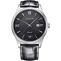GNOTH Men's Black Minimalist Sapphire Leather Watch with Date Roman Numeral
